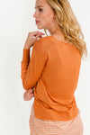 Linel Knit Caramel - Selected Femme - basic v-neck sweater orange casual relaxed thin knit basic