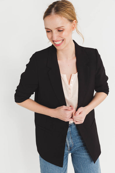 Shirley Blazer Forever Irresistable Black - Soaked In Luxury - black blazer 3/4 length sleeves basic