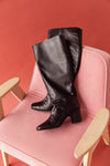 Zoey High Shafted Leather Boots Black