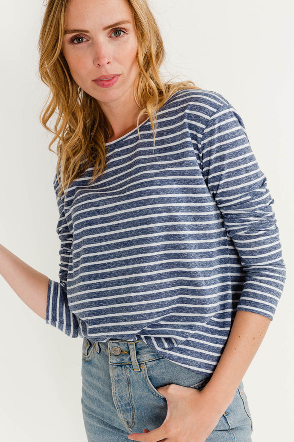 Nobel T-Shirt Stripes White/Blue- Samsoe & Samsoe - T-shirt striped long sleeves cotton soft