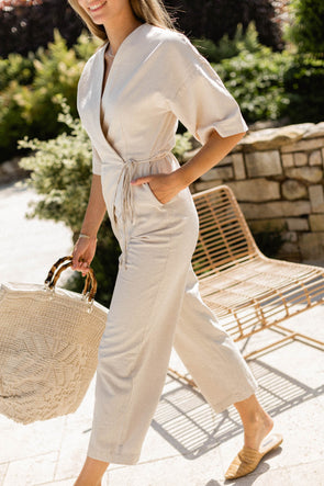 Malvina Jumpsuit Sandshell - Selected Femme - short sleeved jumpsuit wide long legs light beige