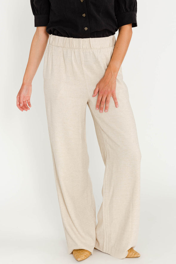 Theorilla Pants Nomad - Minimum - linen pants elasticated waistband wide legs light beige nude