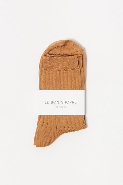 Le Bon Shoppe Socks Her Peanut Butter - Le Bon Shoppe - Ribbed knit socks peanut butter