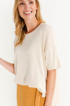 Wille Knit Sandshell - Selected Femme - knit t-shirt tee short sleeves cream white round neck casual