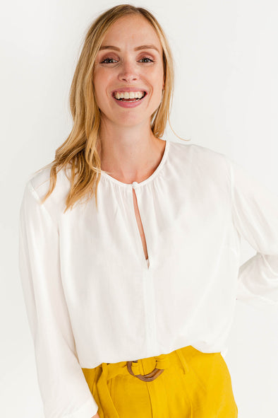 Eva Blouse Snow White - Selected Femme - long sleeved blouse white tie neck