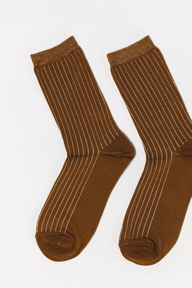 Bobby Rib Socks Bronze Brown