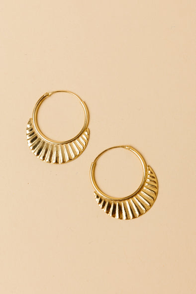 Ribbed Earring Gold Plated - My treasure hunts
