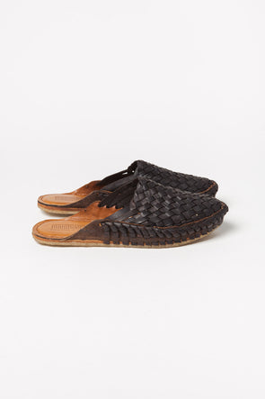 Woven Leather Slides Black