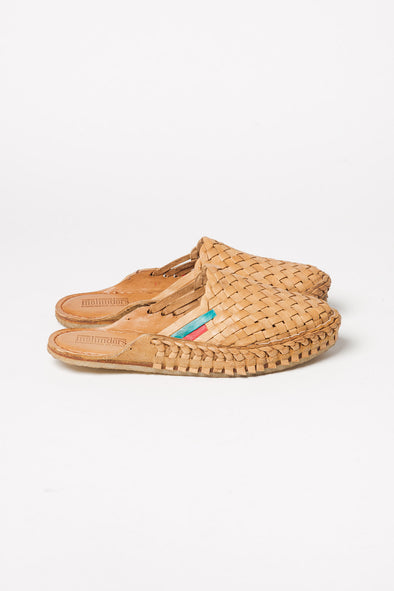 Woven Leather Slides Naturel Stripe