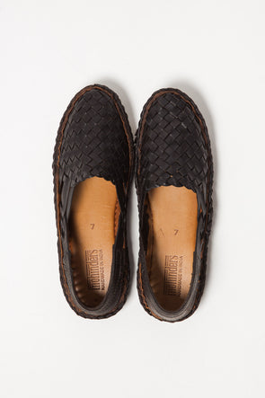 Woven Leather Flat Black