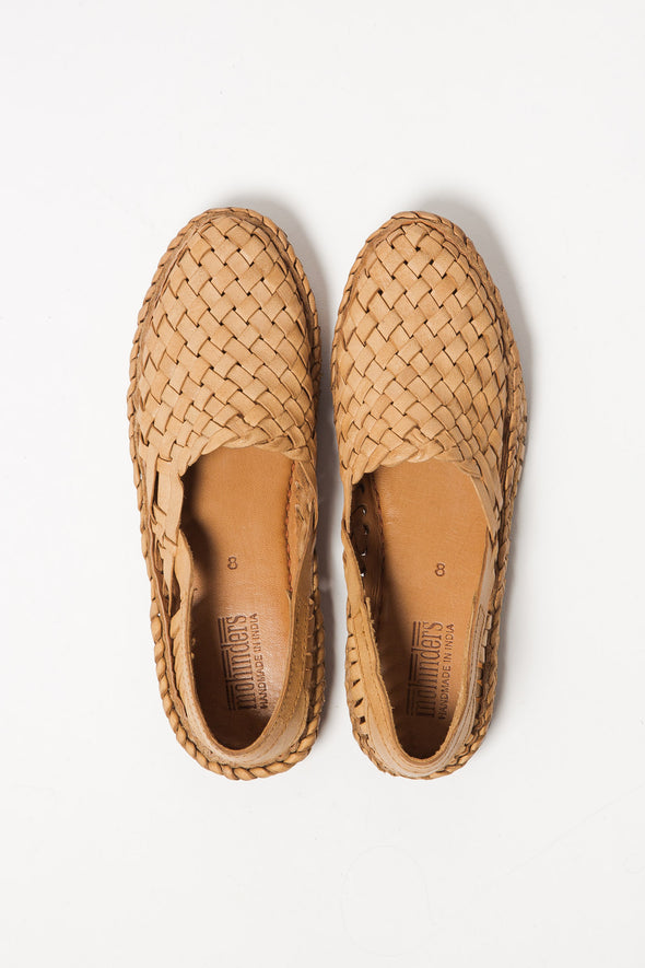 Woven Leather Flat Naturel