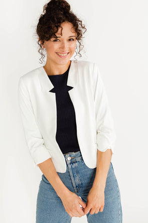 Lena Blazer Broken White - Soaked - Blazer white 3/4 sleeves cropped casual