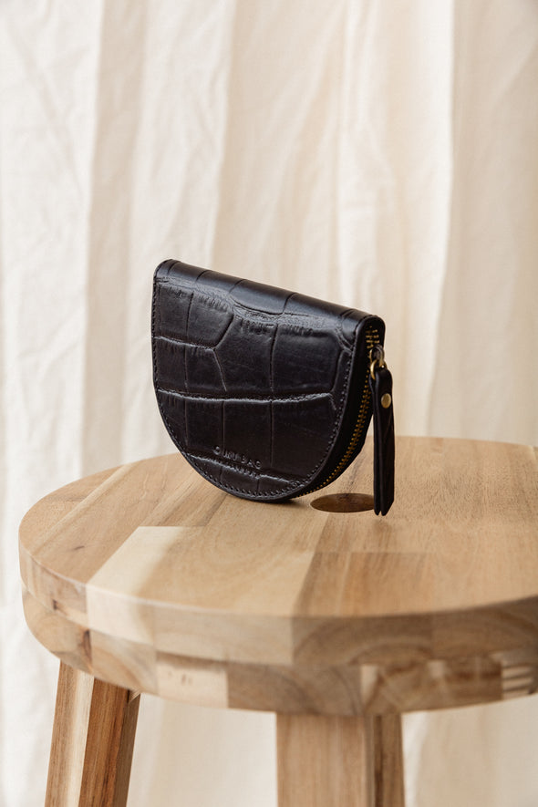 Laura's Coin Purse Black Croco Classic Leather - O My Bag - Semi-circle black croco leather bag magnetic closure