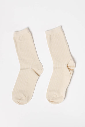 Bobby Rib Socks Birch - Selected Femma - cream white socks rib ribbed long socks ankle