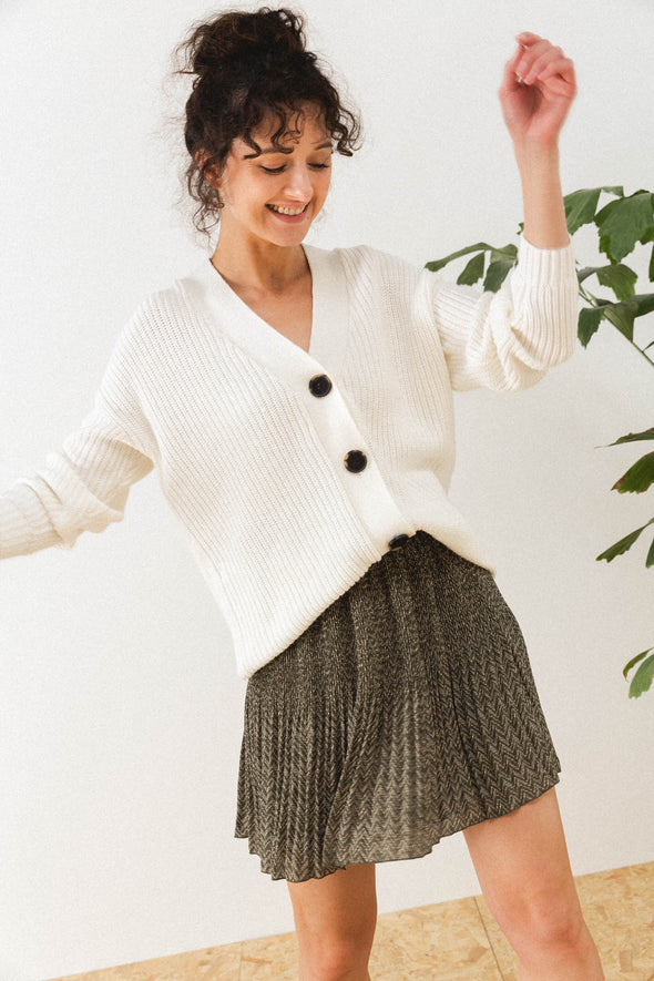 Baile Cardigan Snow White - Selected Femme - Cardigan white v-neck buttons