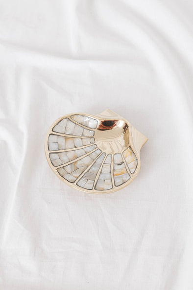 Shell & Brass Dish Mother Of Pearl