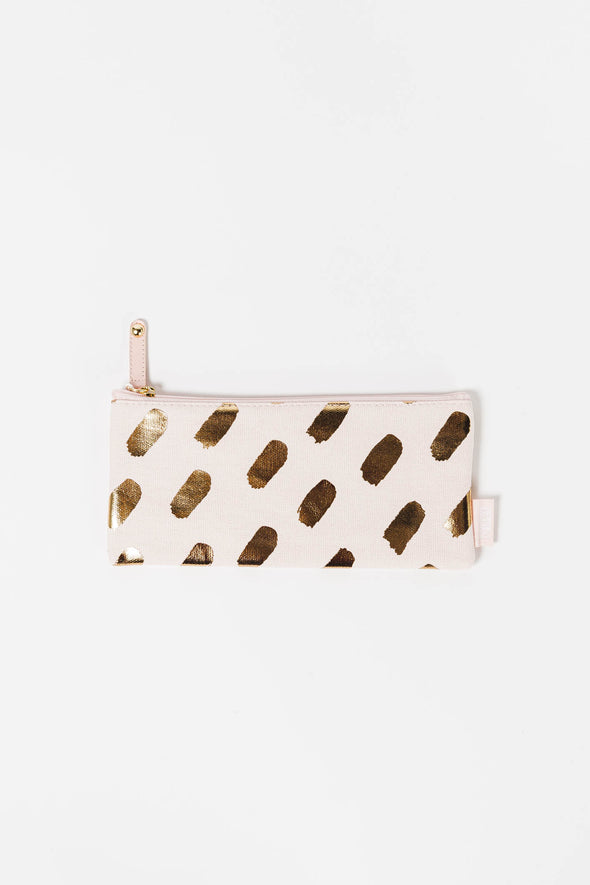 Canvas Pencil Case - Kikki K - white and gold pencil case pouch