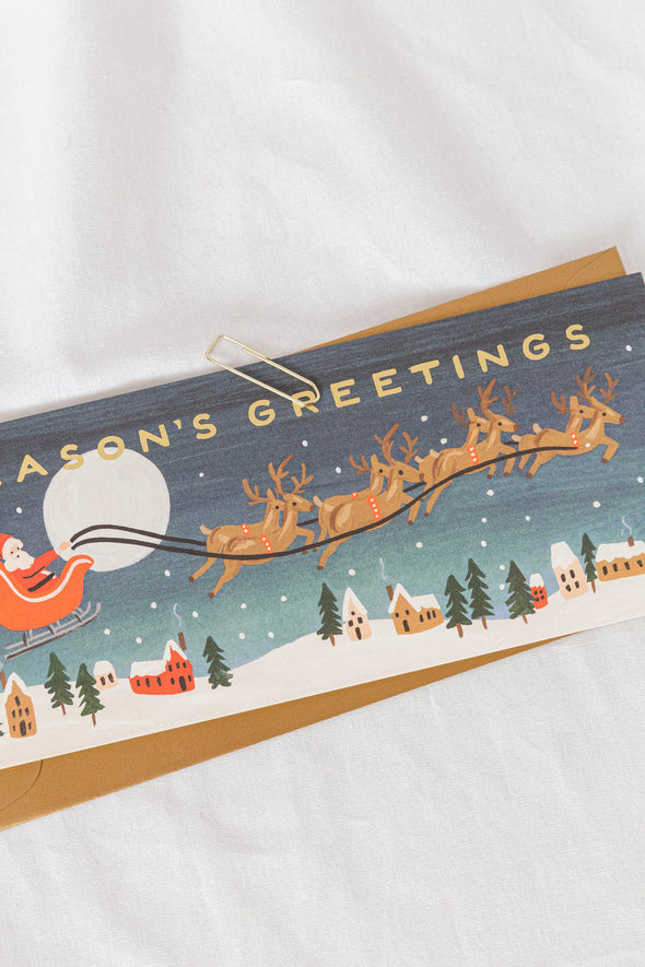 Santa's Sleigh Long Card
