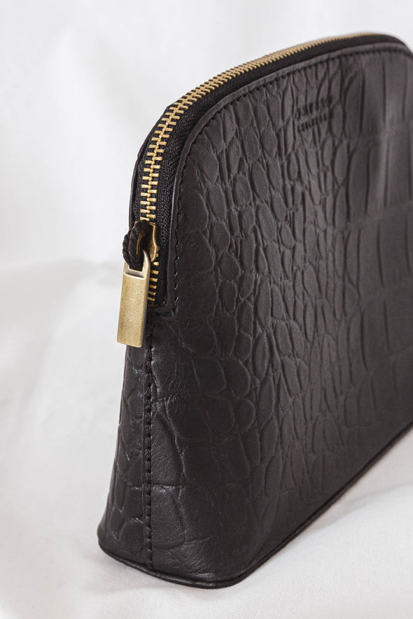 Cosmetic Bag Black Croco Classic Leather