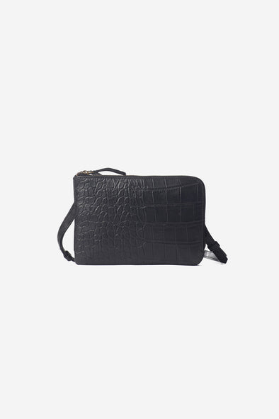 Lola Soft Grain Bag Black Croco - O My Bag - Black leather croco bag double zipper closure
