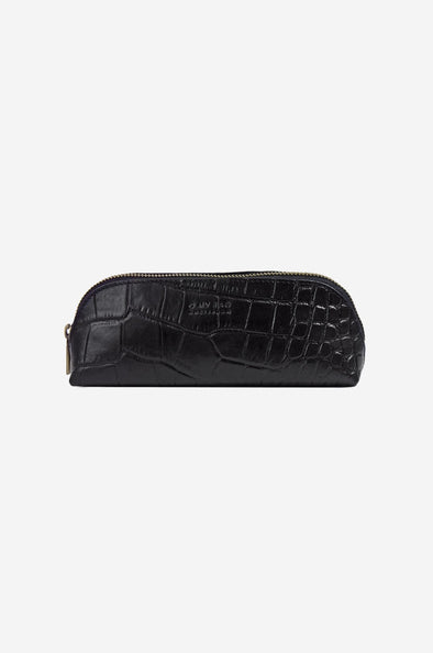 Pencil Case Black Croco Large