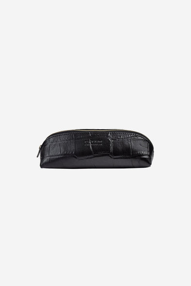 Pencil Case Black Croco Small