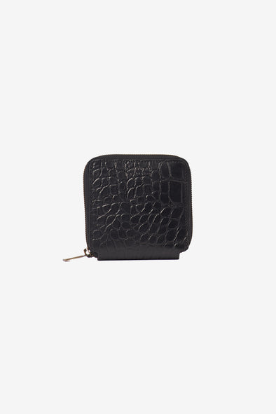Sonny Square Wallet Croco Leather Black - O My Bag - Black square croco leather wallet zip around
