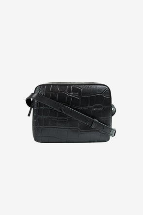 Sue Black Croco Classic Leather - O My Bag - Black croco box shaped bag with a leather strap