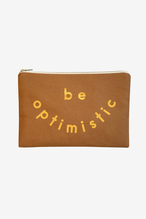 Canvas Zip Pouch 'Be Optimistic' - Alphabetbags - Sturdy tan pouch with be optimistic printed in mustard yellow
