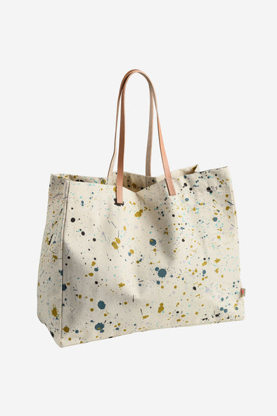 Shopping Bag Brigitte - La Crise Sur Le Gateau - Shopping bag with leather handles en paint spatter print