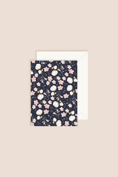 Card Navy Floral Pattern