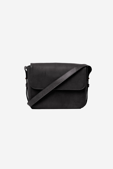 Gina Bag Black Classic Leather - O My Bag - Black leather bag with shoulder strap