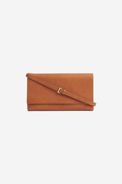 Kirsty Clutch Cognac Stromboli Leather - O My Bag - Cognac leather clutch