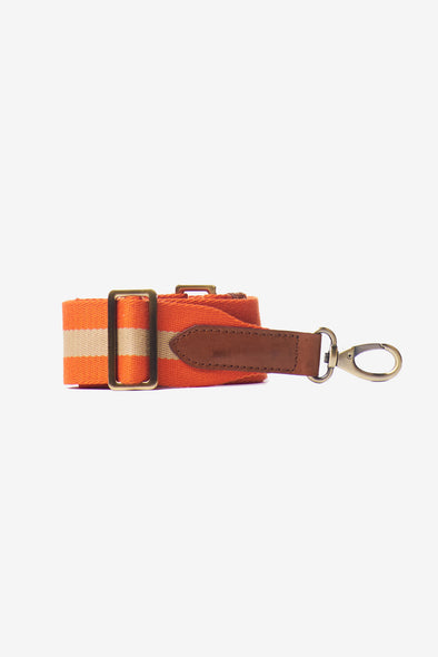 Webbing Strap Orange & Cognac Leather Details - O My Bag