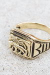 Signet Ring Tiger Brass