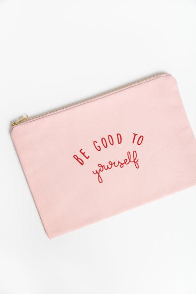 Be Good Blush Pink Canvas Pouch