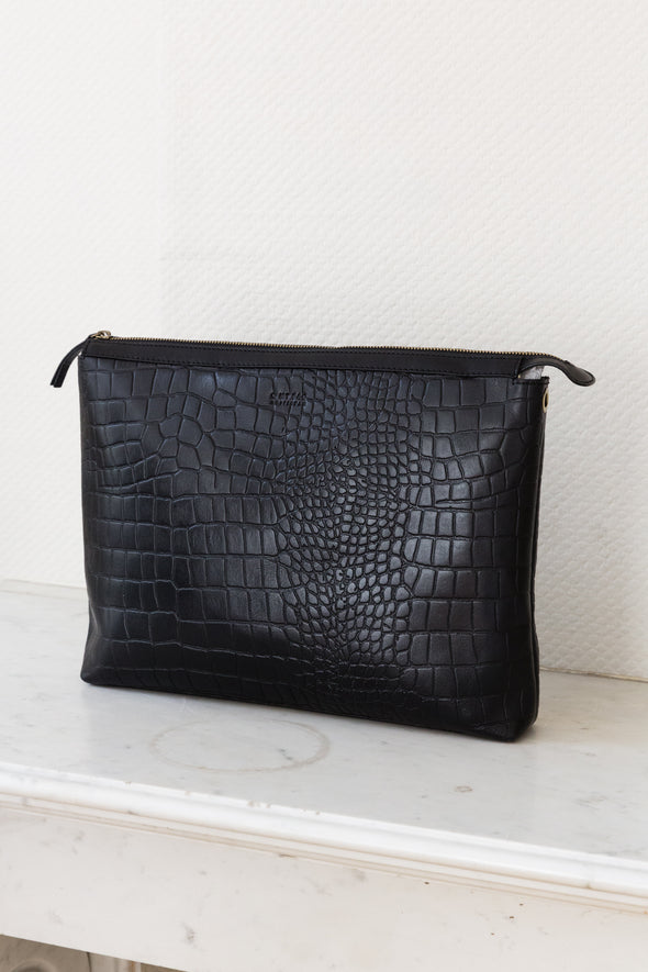 Scarlet Eco Hunter Black Croco - O My Bag - black bag medium size gold hardware