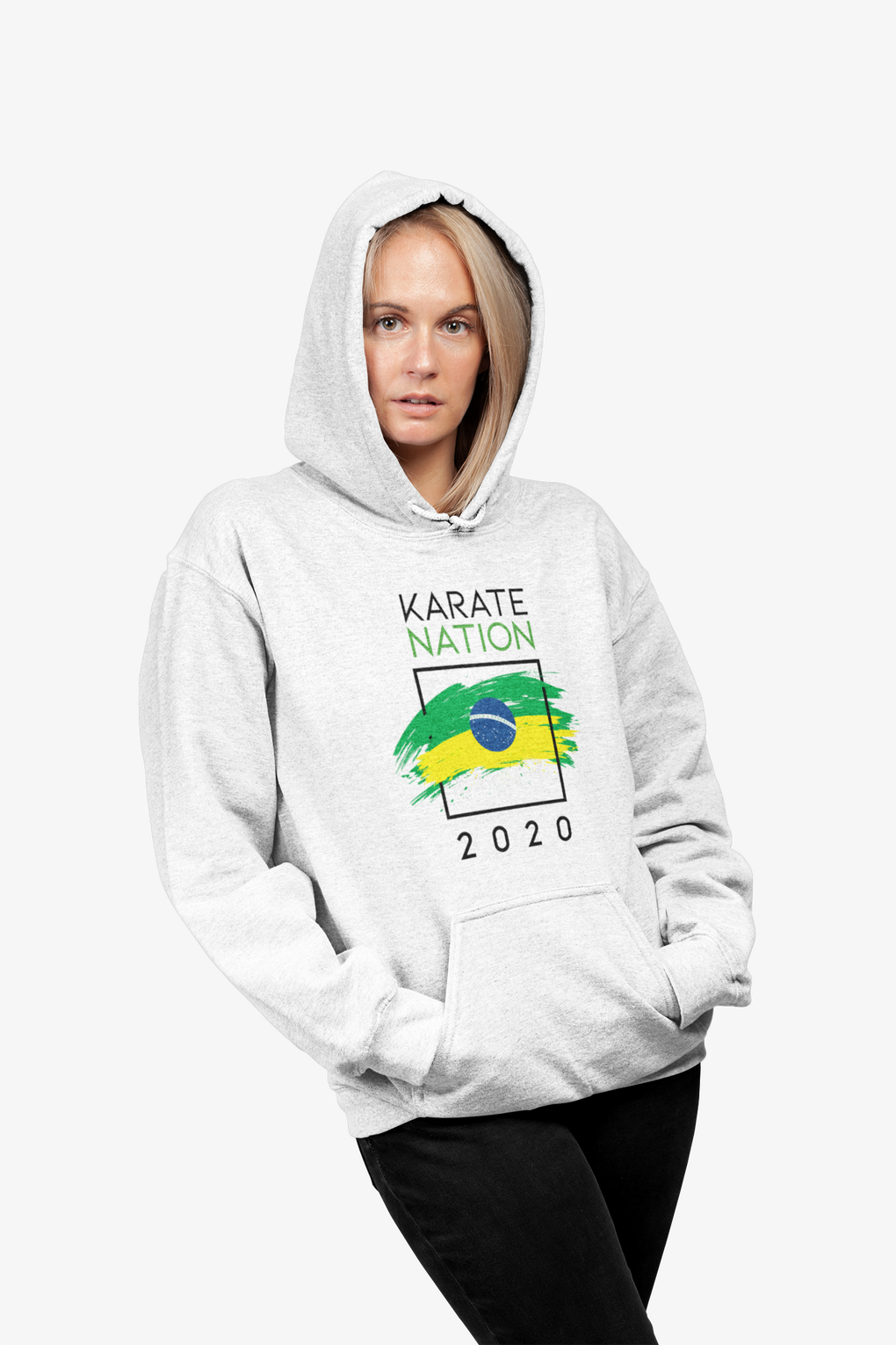 Karate Nation Brazil Square Design Hoodie - Unisex
