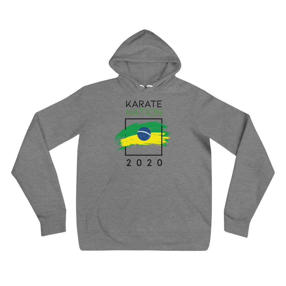 Karate Nation Brazil Square Hoodie Grey - Unisex