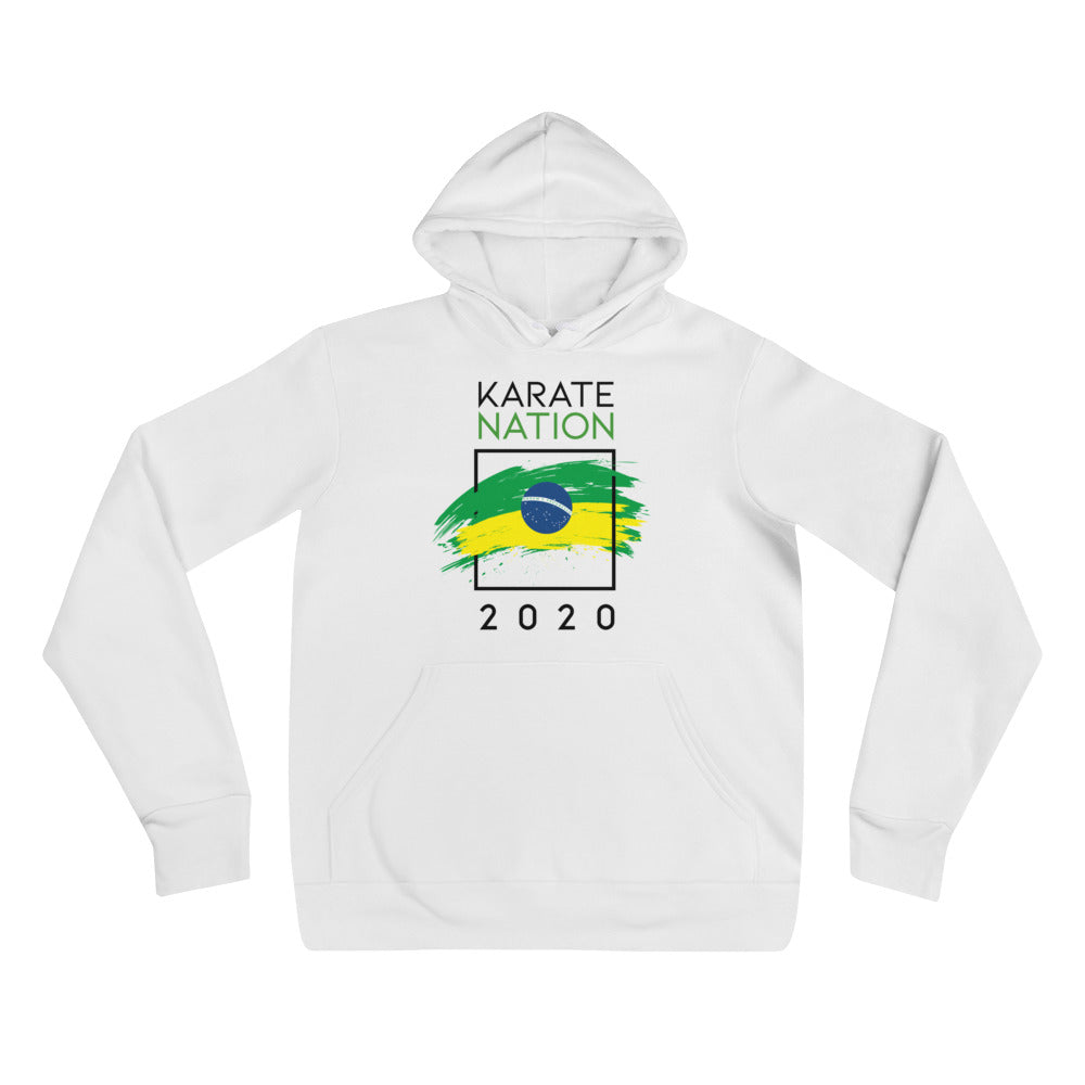 Karate Nation Brazil Square Hoodie White - Unisex