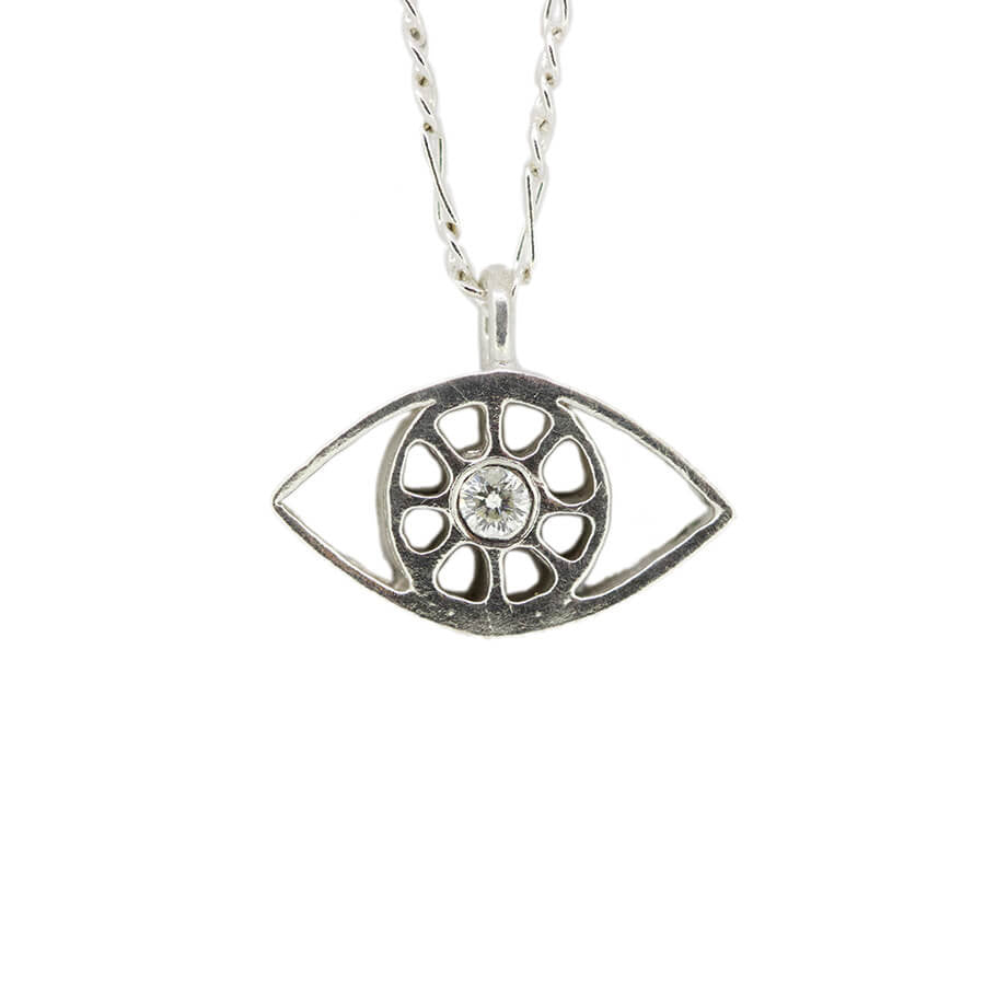Silver evil eye necklace.