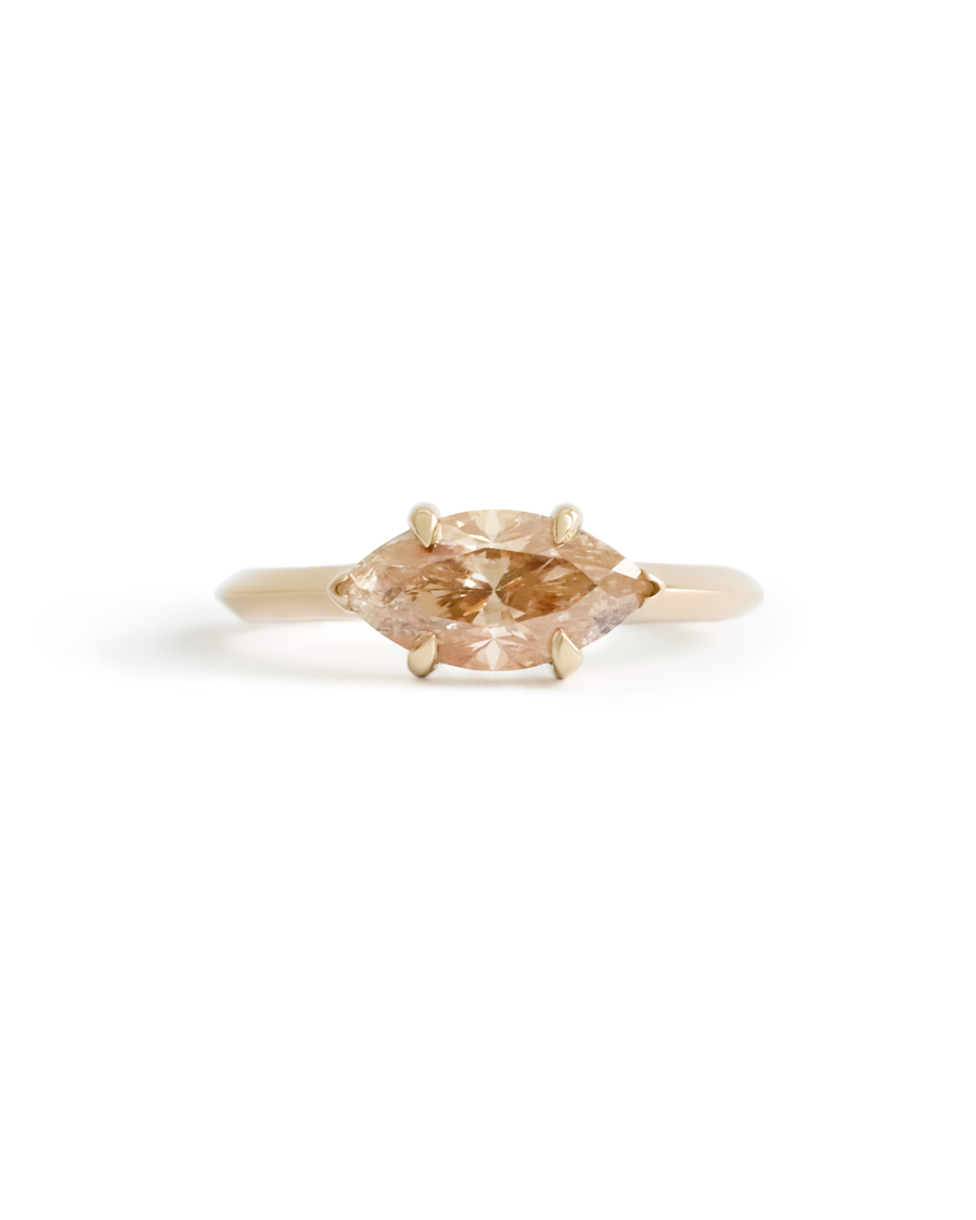 Eye Love U Ring / Champagne-Peach Marquise Diamond