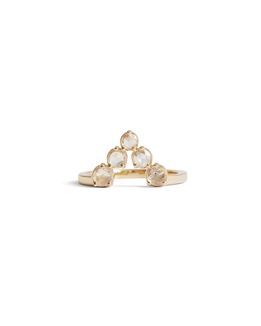 Open V Ring / White Diamonds