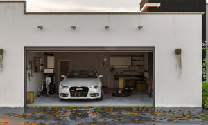 Garage with flood barrier