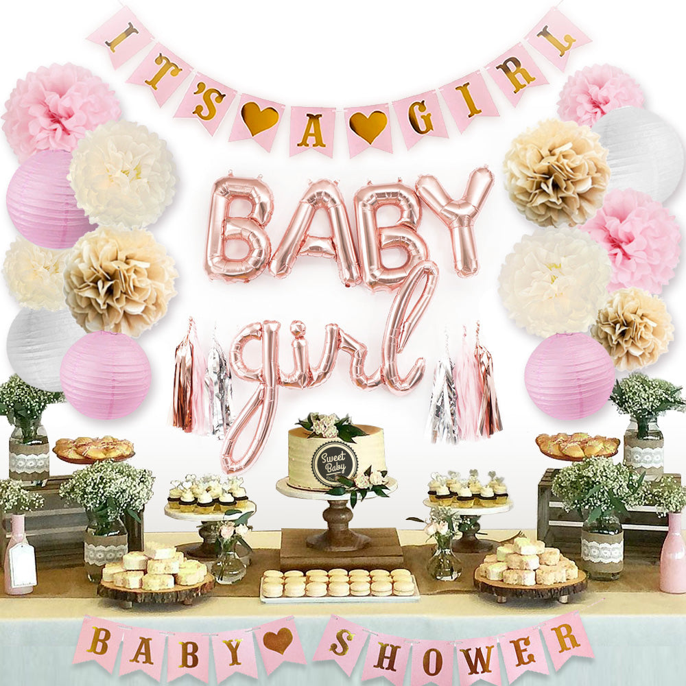 Rose Gold Baby Shower Decorations For Girl Sweet Baby Company