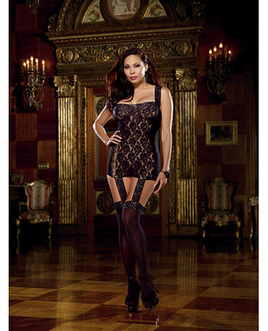 Lace Garter Dress w/Stretch Trim Straps, Satin Ribbon Bk & Attached Stockings Blk