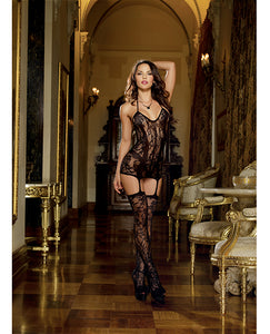 Lace Fishnet Halter Garter Dress w/Opaque Bodice Lines, Halter Ties & Attchd Stkngs Blk