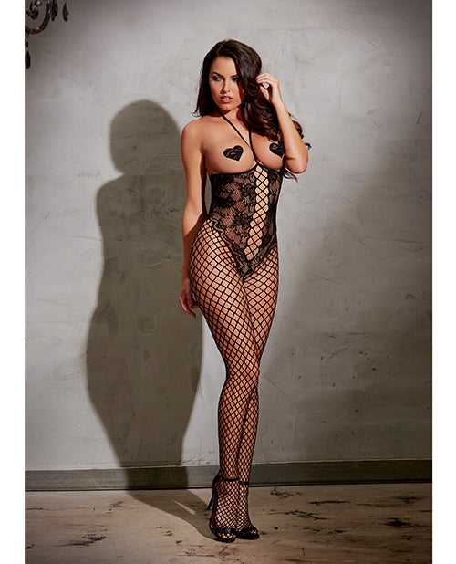 Open Cut Open Crotch Body Stocking w/ Knitted Lace Teddy Style