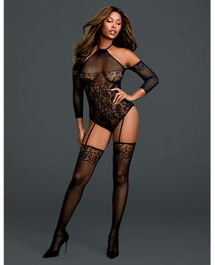 Floral Netted Teddy Bodystocking w/Attached Thigh Highs Black O/S