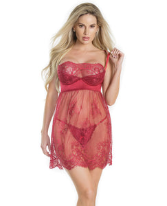 Lightly Padded Demi Cup & Fine Lace Skirt Babydoll & Adjustable Crotchless Panty Merlot